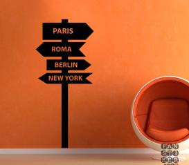 Наклейка Париж-Рим- Берлин- Нью-Йорк