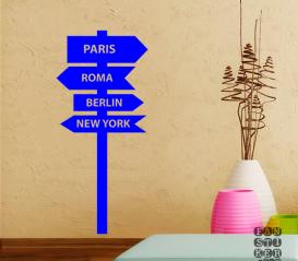 Виниловая наклейка на стену Париж-Рим- Берлин- Нью-Йорк