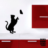 Наклейка-на-стену-Кошка-и-Бабочка