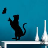 Наклейка Кошка и Бабочка