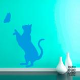 Оформление стен наклейкой Кошка и Бабочка