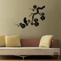 Принт на стену Сакура и Соловей | Sticker Sakura and Nightingale