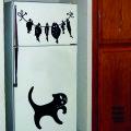 Наклейка Кот и Рыба в интерьере кухни