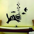 кот с аквалангом в интерьере