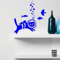 Наклейка на стену Кот с Аквалангом в интерьере кухни