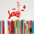 Наклейка на стену Кот с Аквалангом в интерьере, над книжной полкой
