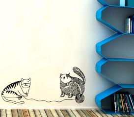 Наклейка на стену Коты и Клубок