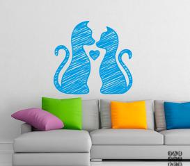 Стикер в интерьер Кот и Кошка