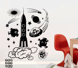 Декоративный принт Космическое путешествие. Комплект наклеек