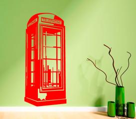 Наклейка на стену Лондонская телефонная будка