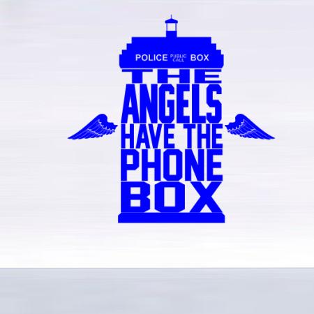 Стикер наклейка на стену Телефонная будка. Ангелы