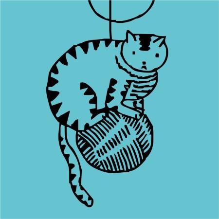 Виниловая наклейка Кошечка на Клубке