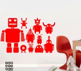 Наклейка на стену Роботы. Комплект наклеек