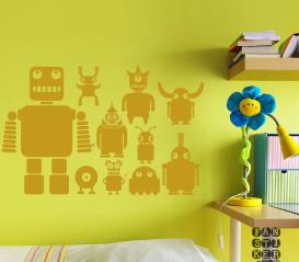 Виниловая декоративная интерьерная наклейка на стену Роботы. Комплект наклеек
